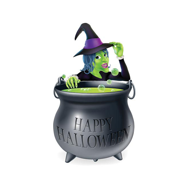 Vector Illustration of Spooky Halloween Witch girl with cauldron illustration