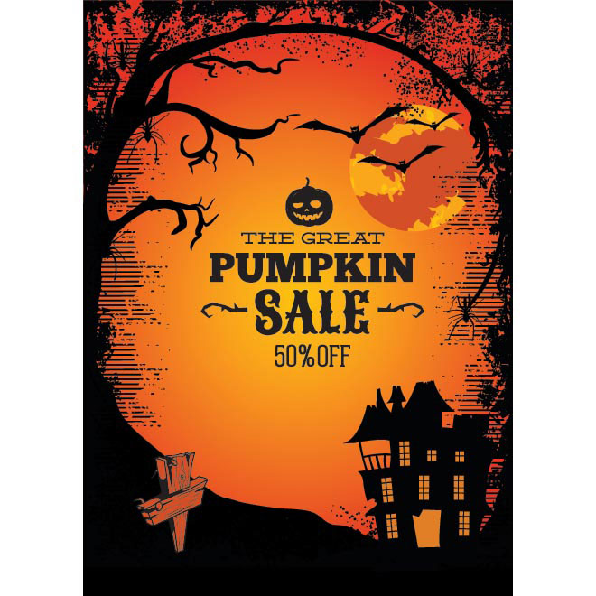 Vector Orange Grunge happy Halloween poster template illustration