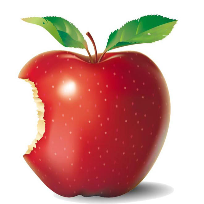Vector Red apple with Bite taken illustration