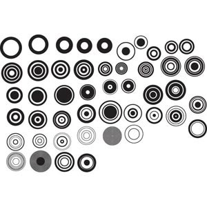 Vector Retro Series of black and white design elements illustration