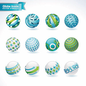 Vector Set of 3d Globe Abstract Logo icons illustration