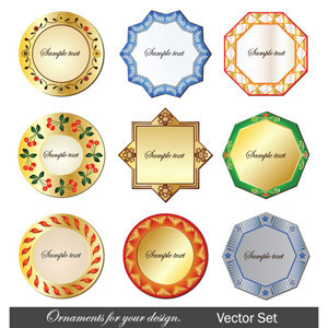 Vector borders frames and ornamental labels set illustration