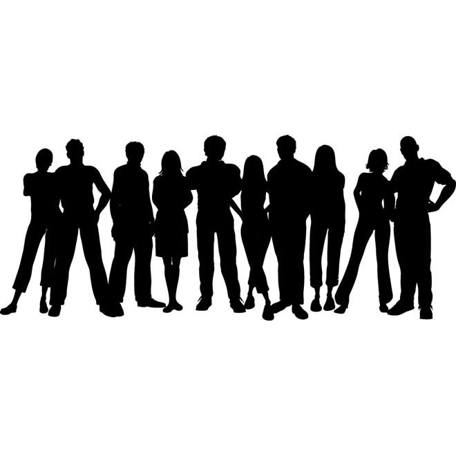 Vector group of people standing clip art illustration