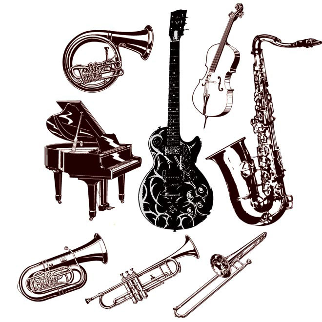 Vector hand drawn musical instruments illustration
