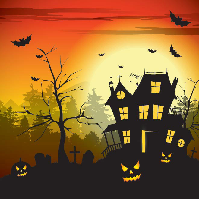 Vector hunted house with old tree happy halloween template illustration
