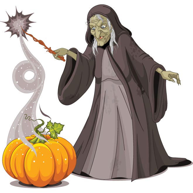 Vector old Lady Witch with pumpkin doing magician illustration