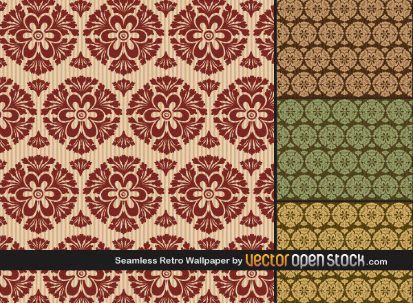 Wallpaper Vector Pack of Seamless Retro Wallpapers illustration