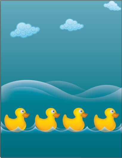 Water ducks illustration