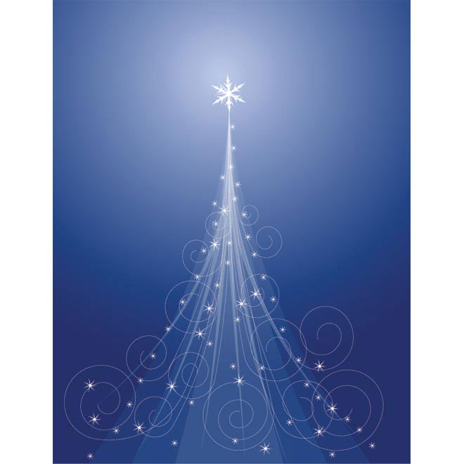 abstract floral art Christmas tree on blue background Vector illustration