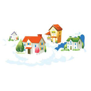 beautiful 3d house in small village around snow falling winter vector illustration