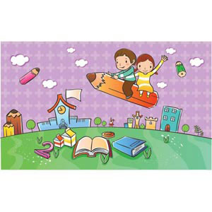 beautiful cute school children flying in park in background city in green horizon vector kids illustration illustration