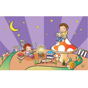 children learning in park on purple background vector illustration illustration