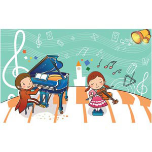 children playing with violin music alphabet flying vector kids illustration illustration