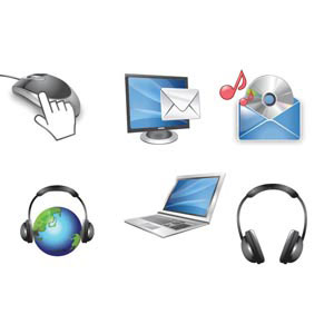 glossy computer accessories icon on white vector computer illustration illustration