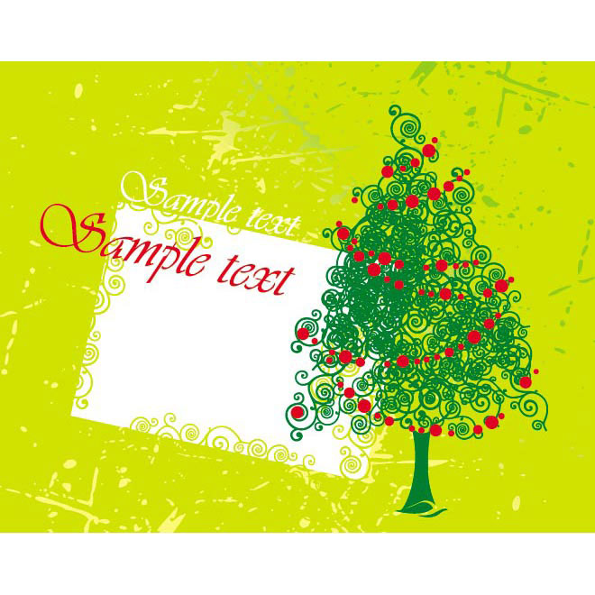 simple green floral art Christmas Greeting card Vector illustration