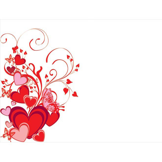 Free Vector Red Heart and butterfly Floral curls Design poster – Valentine Card Background